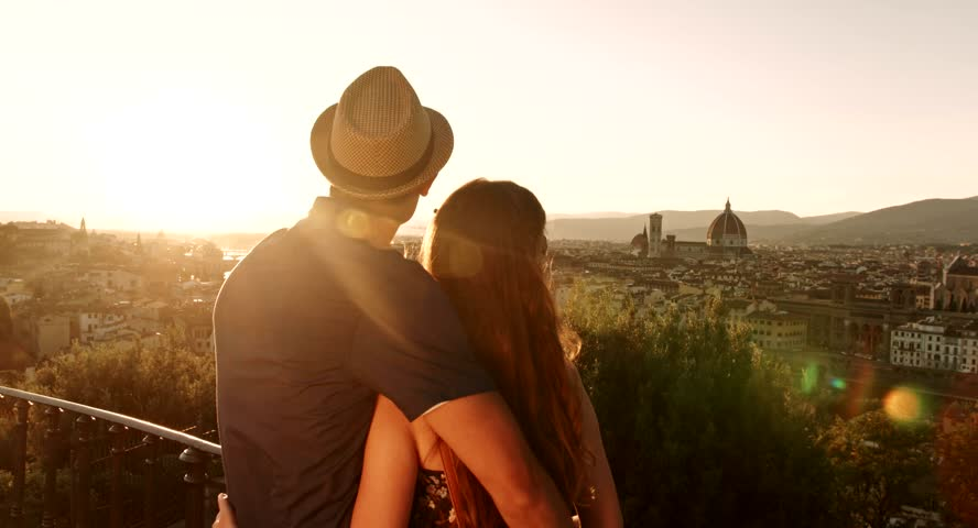 Romantic Couple Hugging Tourists Vacation Europe Sunset