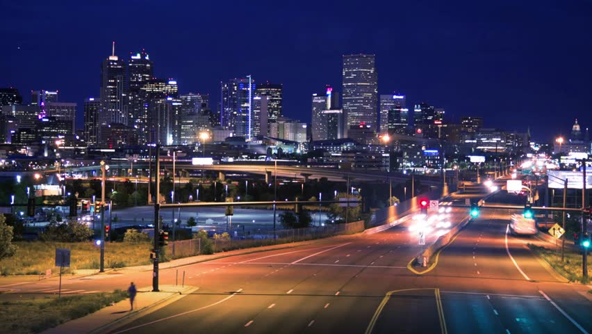 Denver CO city time-lapse Colfax st. skyline