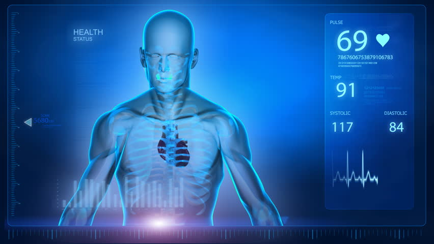 Human scan concept with heart and skeleton Royalty-Free Stock Footage #762418