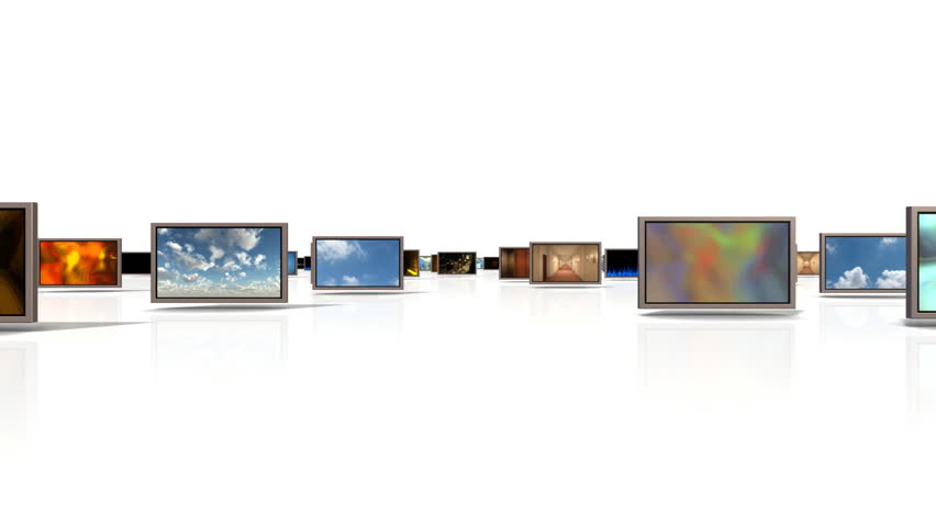 A camera Moving Through a group of Video Displays displaying different video clips. included are an alpha channel and trackers for changing the final screen video if needed.  | Shutterstock HD Video #762490
