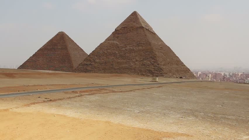 Great Pyramids In Giza Valley, Cairo, Egypt. Overview from right to left | Shutterstock HD Video #7626025