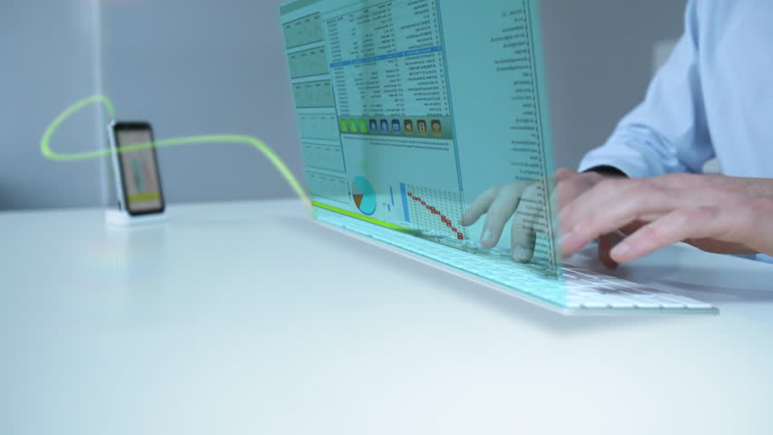 businessman working with future laptop touch display interface