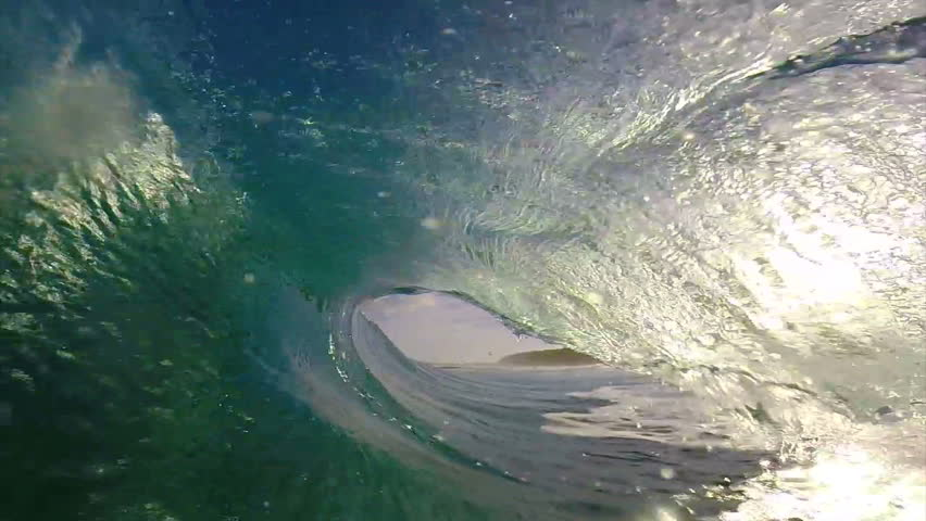 POV Surfing View Empty Ocean Wave Crashing