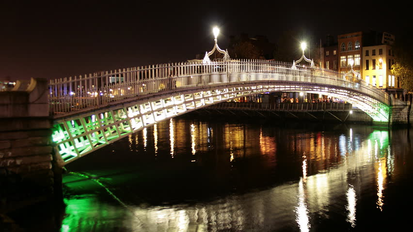 Famous Ha'penny bridge time lipse at night, Dublin, Republic of Ireland