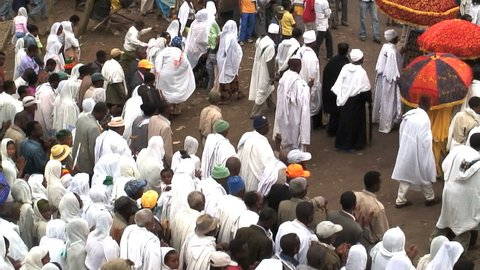 ETHIOPIA - JANUARY 2009: Priests & procession of Timket celebration of Epiphany Christian Orthodox Church Addis Ababa Ethiopia