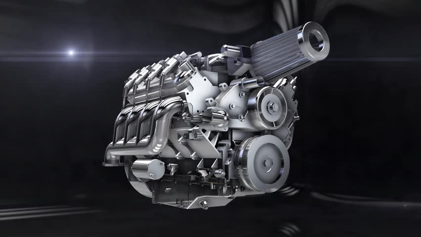 Car engine assembling-disassembling animation loop