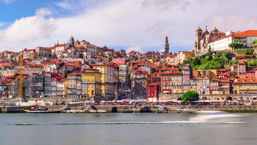Porto, Portugal skyline time lapse on the Douro River.