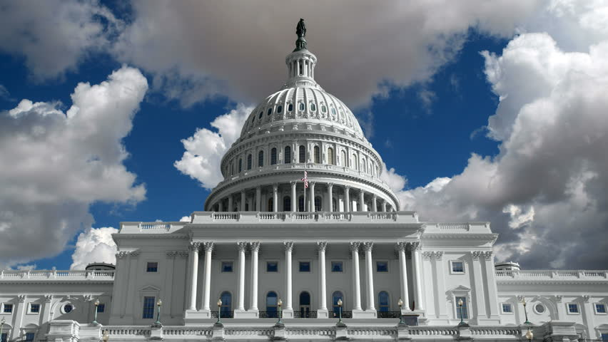 US Capitol Building with Gathering Time Lapse Storm Clouds in 4K.