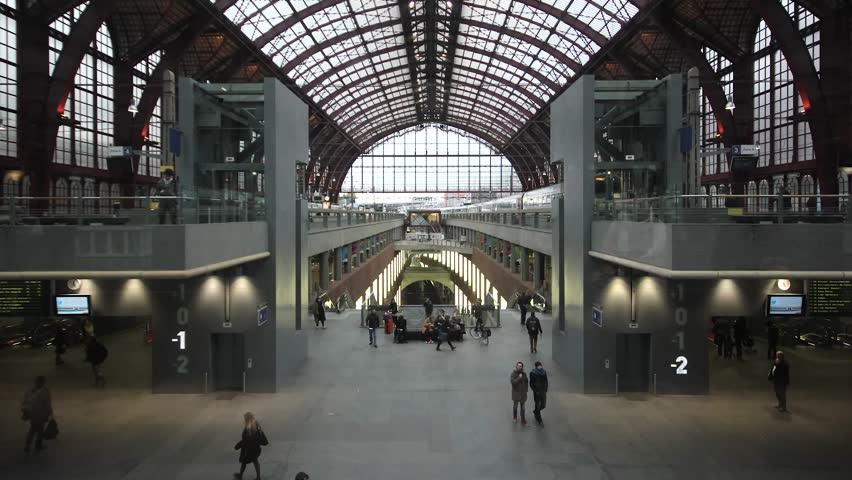 ANTWERP, BELGIUM - CIRCA OCTOBER 2014: Timelapse Antwerp Central Station