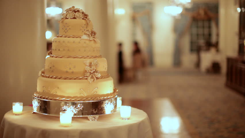 A Golden Wedding Cake At Stock Footage Video 100 Royalty Free 773650 Shutterstock
