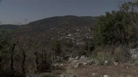 Tlamacazapa village with mountains behind it in Mexico.