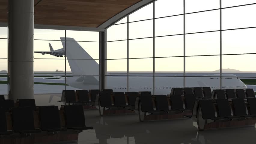 Modern airport passenger terminal. Aircraft landing. Flying plane. #7747363