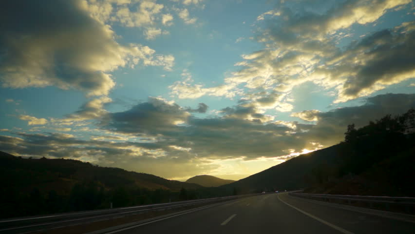 Car ride at dusk. A look on the scenic landscape. | Shutterstock HD Video #7760914