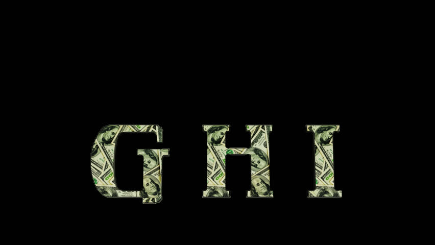 Alpha-channel. Fire G H I letters with texture of the dollar