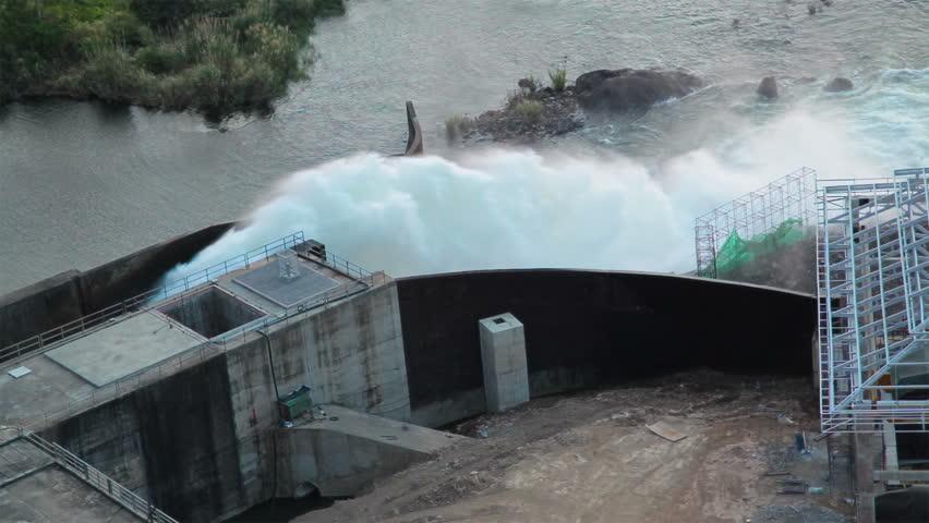 Hydro power dam, water release #7766770