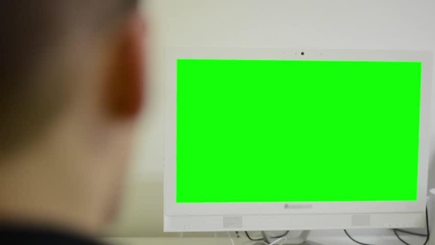 Man works on computer - green screen - office - closeup | Shutterstock HD Video #7782169