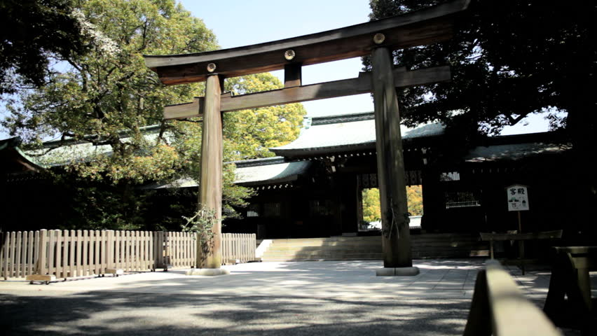 Ceremonial gate Meiji Jingu Shrine Yoyogi Park Japanese Shinto wooden forest nature Shibuya District Tokyo | Shutterstock HD Video #7791670