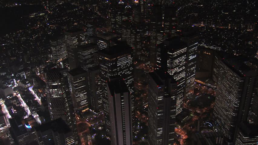 Aerial Metropolis Tokyo night illuminated cityscape offices skyscrapers Cocoon Tower structure growth travel Central Business District Japan | Shutterstock HD Video #7792642