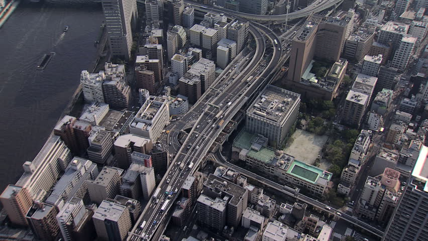 Aerial view Sumida River bridges Tokyo city elevated vehicle Expressway large Urban area nautical vessels Japan Asia #7794019