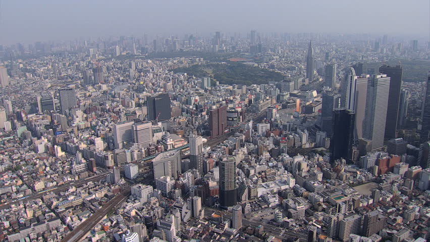 Aerial overhead Metropolitan cityscape view city skyscrapers Business district Tokyo Rail Station Japan East Asia | Shutterstock HD Video #7794805