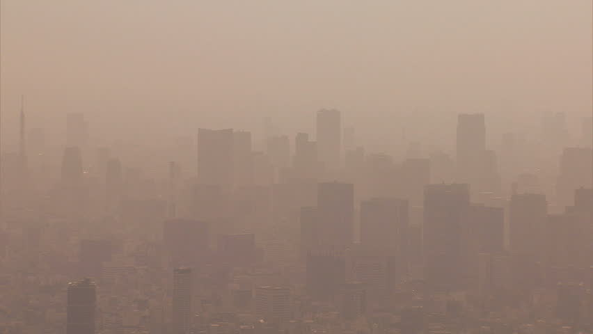 Aerial Metropolis environmental view city air pollution weather from mainland China over central Tokyo Japan Asia | Shutterstock HD Video #7794814