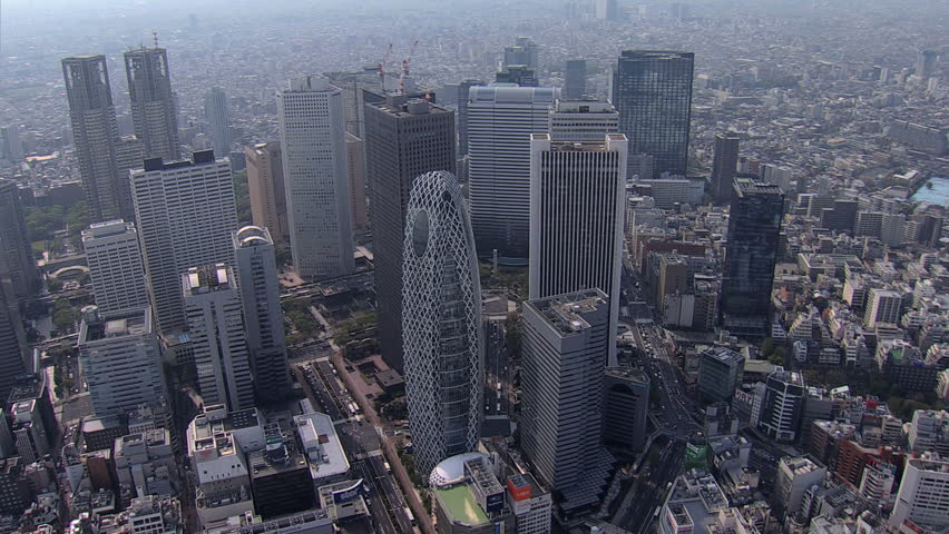 Aerial view Tokyo city Skyscrapers Cocoon Tower Metropolitan Government Building Business district Shinjuku Japan East Asia | Shutterstock HD Video #7794835