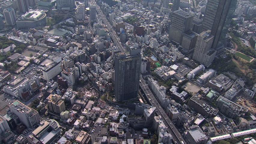 Aerial Metropolis view Roppongi Hills Mori Tower vehicle Expressway Tokyo Business district commuter traffic pollution Japan #7795963