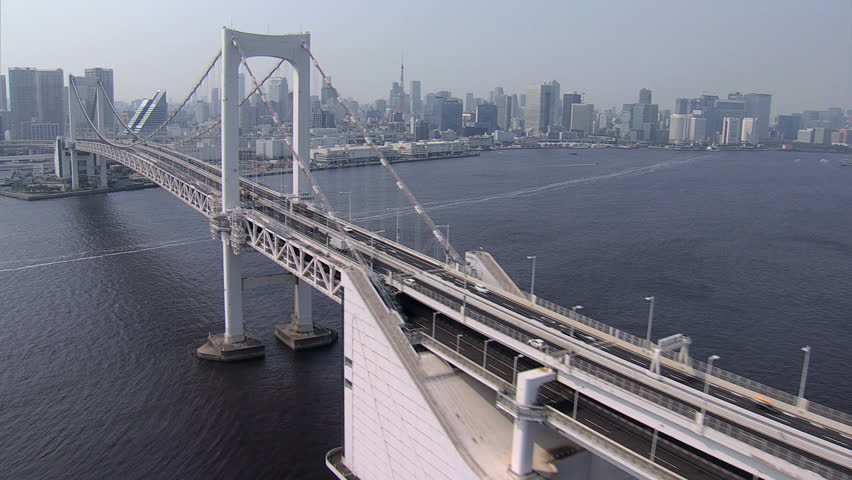 Aerial view Rainbow Suspension Bridge Metropolitan Tokyo Bay Shuto Expressway No 11 Odaiba city district Japan