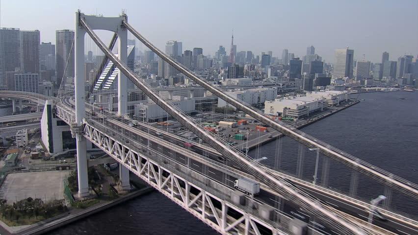 Aerial Rainbow Suspension Bridge Metropolis Odaiba travel Tokyo Bay Shuto Expressway vehicle Japan