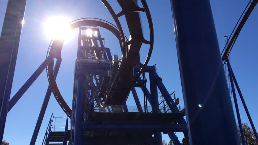 MASON, OH - OCTOBER 26: Banshee, current longest Inverted Roller Coaster, new addition to King's Island Theme park this year, going through loop on October 26, 2014 in Mason, Ohio.