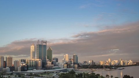 Perth city at sunset time lapse