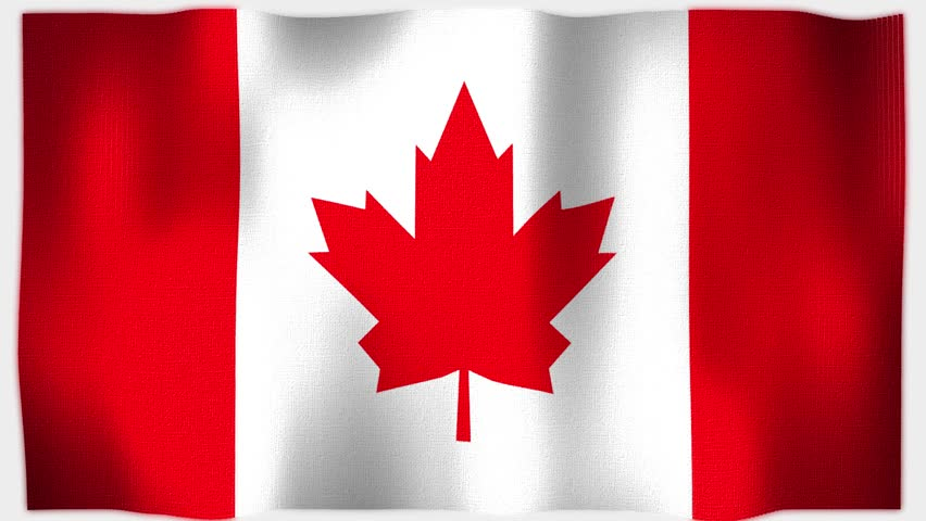 4K 3D Animation of Canadian Canada Whole Flag, highly detailed with fabric canvas and sewing seams texture.  Source: Adobe After Effects
