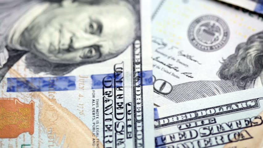 Background from new 100 dollars banknotes. FullHD video | Shutterstock HD Video #7845913
