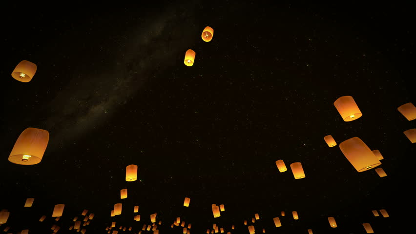 4K beautiful lead couple sky Lanterns flying in night sky, 3d animation