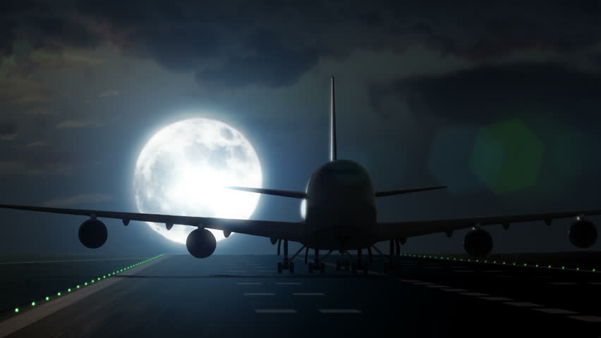 Jet plane departs from airport runway as silhouette in front of large full moon 4K UltraHD #7859377