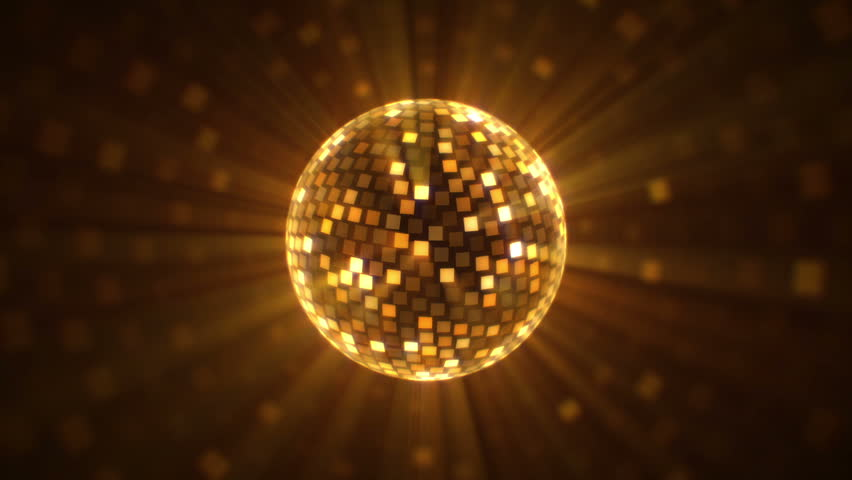 Fly around golden disco ball. Glittering mirror ball rotates, emits rays and cast spots of light. Perfect for your event, party, music video, concert, video art, video projection mapping. | Shutterstock HD Video #7860409