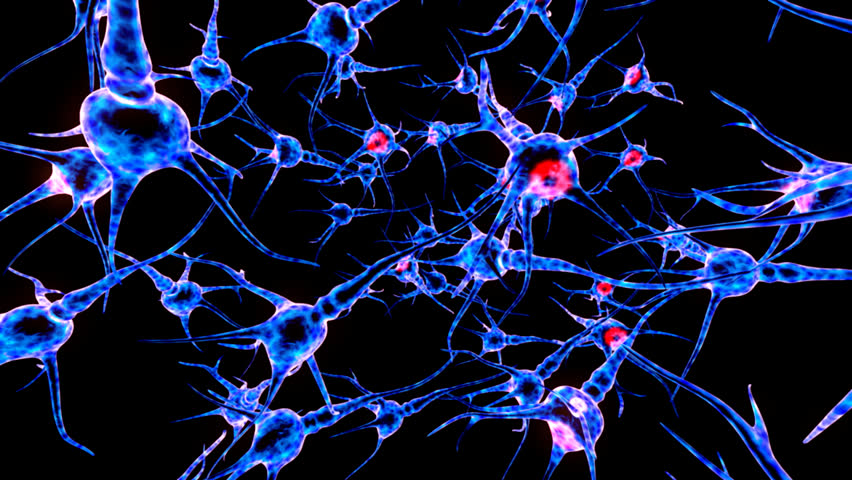 Neuron network. Neuron structure sending electric impulses and communicating with each other. 3D animation. #7872442