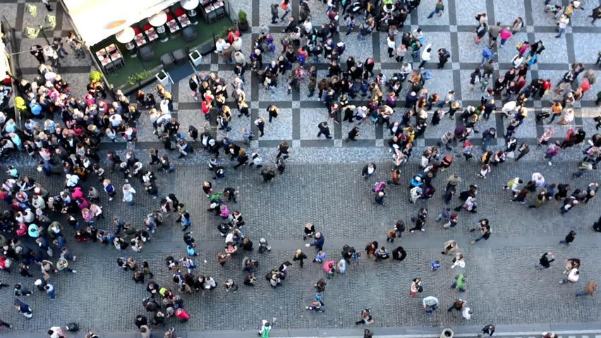 people walking on the street - aerial #7875436