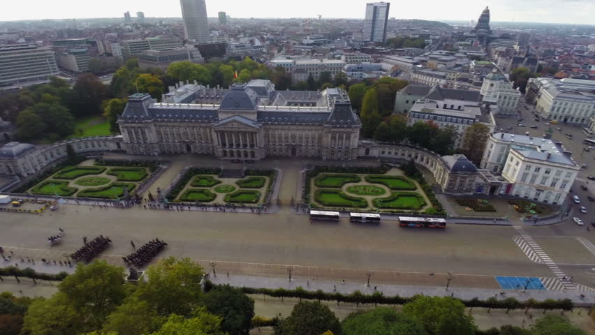 Brussels symbol Royal Palace marching cavalry city aerial view