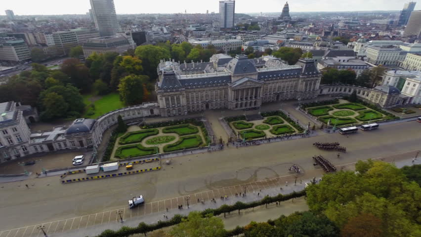 Tourist attraction in Brussels Royal Palace aerial view, parade