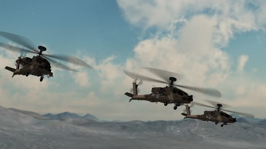 Helicopter Boeing AH-64 Apache in fly over desert area