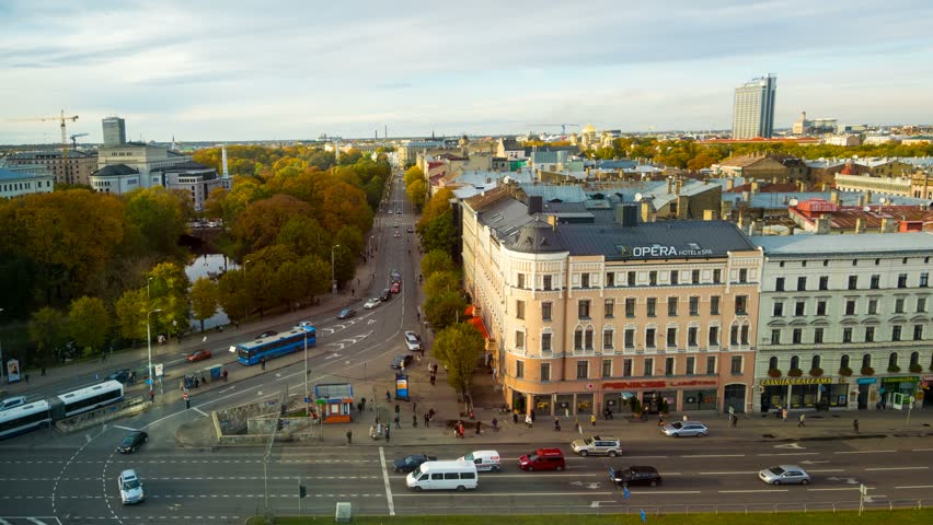 RIGA - OCT 30: Timelapse view of the riga Old town area  in Autumn, Riga is the capital and largest city in Latvia on 30 October 2014 in Riga, Latvia   Shutterstock HD Video #7924315
