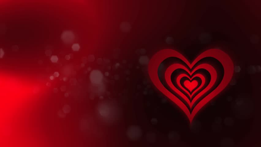 Revolving Heart Shapes Loop High definition animated loop of three dimensional heart graphics over a dark red abstract  background.