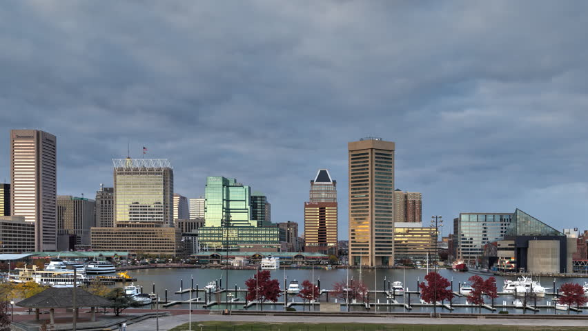 Sunset time-lapse at Baltimore Inner Harbor with thick cloud cover