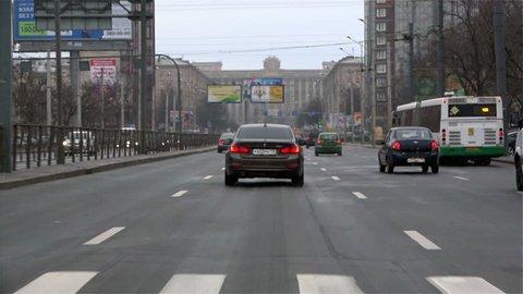 ST PETERSBURG, RUSSIA-November 2, 2014: vehicular traffic during the daytime on Leninsky Prospekt, St. Petersburg, Russia