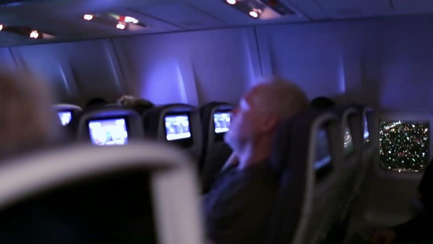 Passenger Sleeping On Overnight Flight Stock Footage Video 100