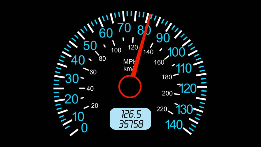Car speedometer and moving pointer, on a black screen background. 4k animation.