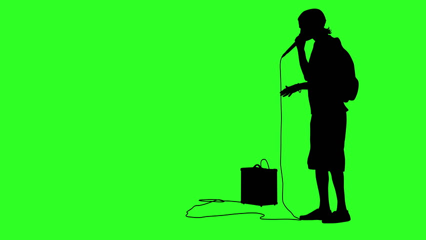 Silhouette of the guy beatbox with a microphone. Green screen background. 4k animation.