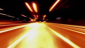 4K Loopable clip of a pov (point of view) night driving hyperlapse timelapse of night traffic shot from outside the windshield of a car in a highway in Greece.