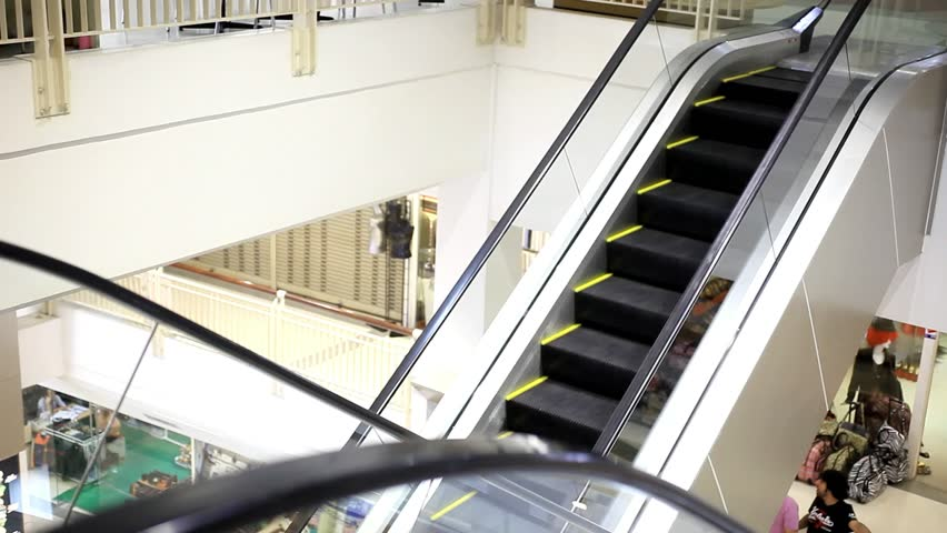 Bangkok. Thailand. 31 July 2014. Moving escalator with stairs in big mall. HD. 1920x1080 | Shutterstock HD Video #8014543